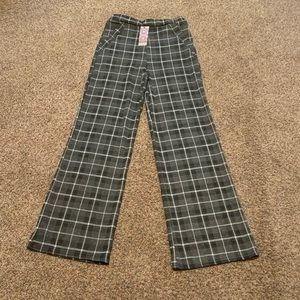 Grid check wide leg trouser